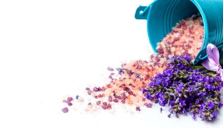 Lavender flowers and bath salt for aromatic spa isolated Reklamní fotografie