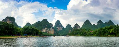 Panoramic view of Li river scenic cruise in Yangshuo, China