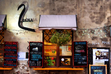 Krakow, Poland - January 2, 2019: 2 Okna Cafe in Krakow, located in the Former Jewish District, a famous travel spot in Poland