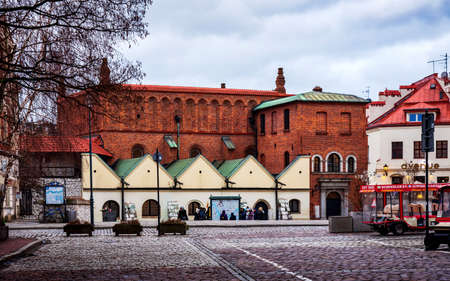 Krakow, Poland - January 2, 2019: Old synagogue in Kazimierz, the Former Jewish District in Krakow Poland, the main cultural center of the Polish Jewry for centuries