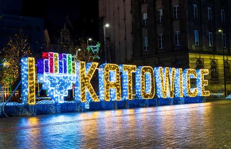 Katowice, Poland - January 1, 2019: I love Katowice sign in the city downtown area illuminated at night