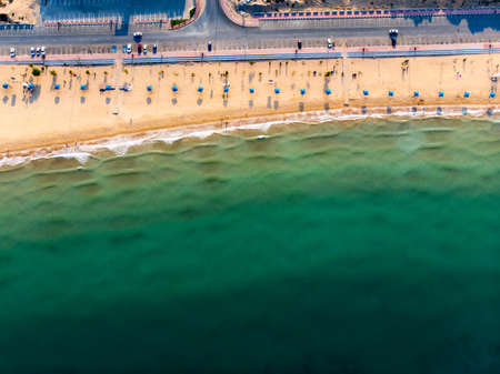 Aerial view at Flamingo beach in Ras Al Khaimah emirate of United Arab Emirates