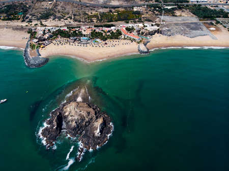 Fujairah sandy beach in the United Arab Emirates aerial view
