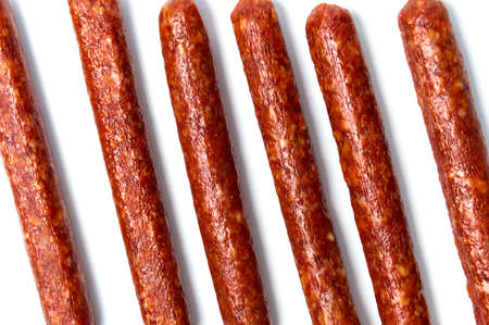 Home made sausages isolated on white background