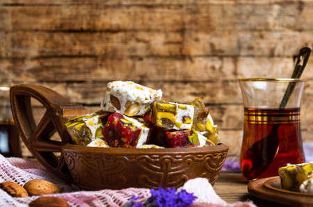 Turkish delights with pistachios and Arabic tea