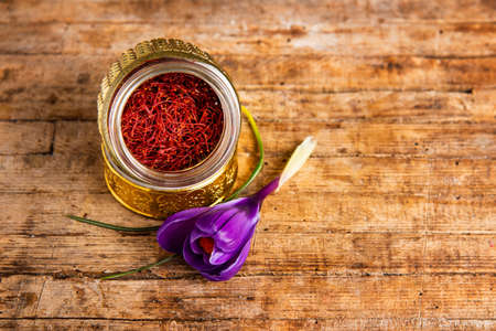 Saffron flower and spice tea crop in a traditional box