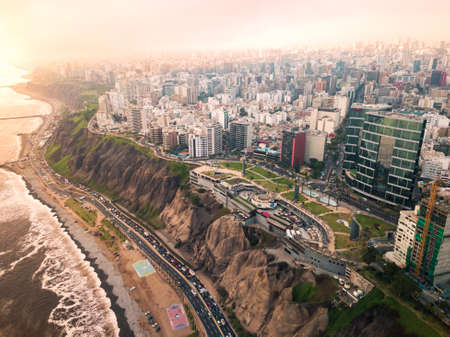 LIMA, PERU - December,12, 2018: Aerial of buildings of downtown Miraflores in Lima on a overcast day