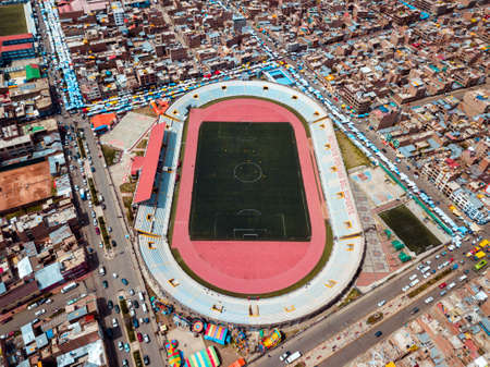 Aerial of a soccer stadium in South America 新聞圖片