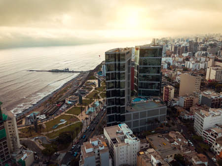 LIMA, PERU - December,12, 2018: Aerial of buildings of downtown Miraflores in Lima on a sunny day Stock Photo
