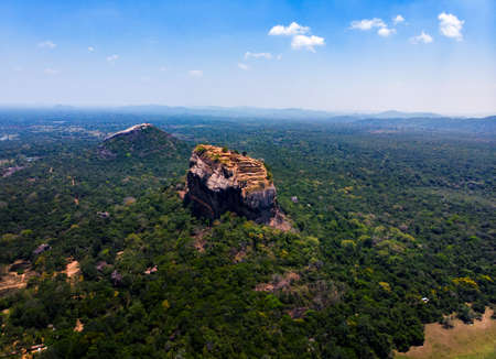 Sigiriya ancient rock fortress in Central Province of Sri Lanka aerial view Stock Photo