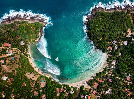 Hiriketiya Beach in Sri Lanka aerial lanscape view Stok Fotoğraf