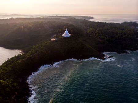 Japanese Peace Pagoda Buddhist temple near Unawatuna in Sri Lanka