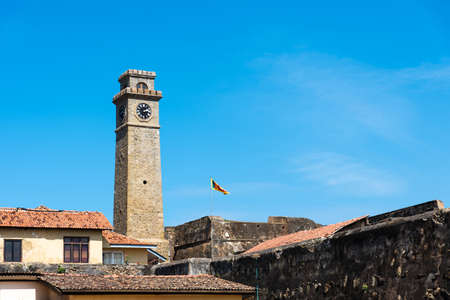 Galle fort clock tower in Sri Lanka on a sunny day