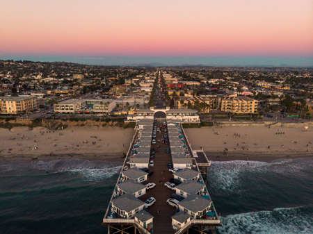 Drone view of Pacific beach and pier in San Diego