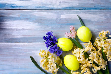 Painted Easter eggs and hyacinth spring flowers top view