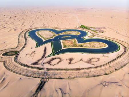 Heart shape Love lakes in the Dubai desert aerial view Reklamní fotografie