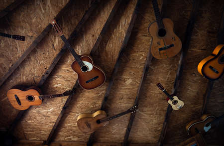 Acoustic guitars hanging from the wooden ceiling