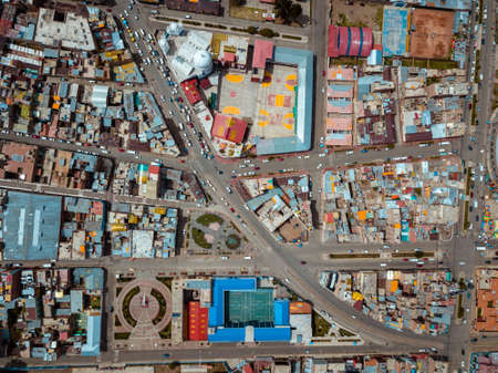 Aerial of the city of Puno in Peru, South America