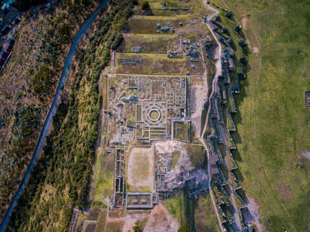 Sacsayhuaman archeological site near Cuzco Peru from the air 版權商用圖片