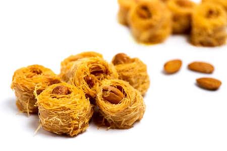 Arabic kadayif baklava dessert with cashew nuts isolated