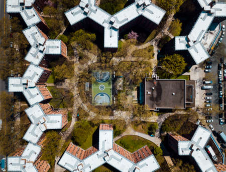 Aerial of Queensbridge Y shaped public Houses in New York Stock Photo