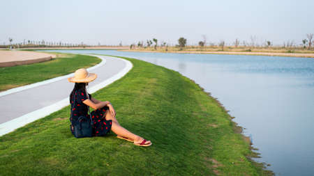 Happy tourist enjoying Love lakes view in Dubai