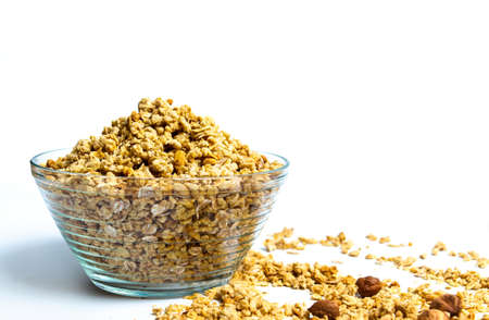 Various cereals and granola mix in a bowl top view Stockfoto