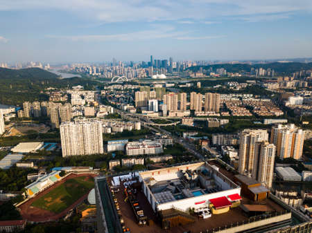 Aerial skyline of Nanning, the capital city of Guangxi province in China 版權商用圖片
