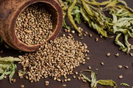 A lot of medicinal marijuana seeds in a bowl