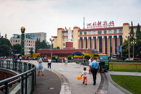 Chengdu, China - July 27, 2019: Tianfu Square with Chengdu with Mao Zedong Statue and Science Museum beeing the largest public square in the capital of Sichuan province.