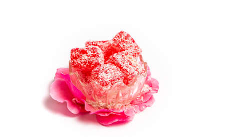 Turkish delight made of rose with coconut powder in a bowl