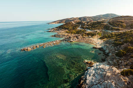 Tigania beach in Greece aerial photo Stock Photo