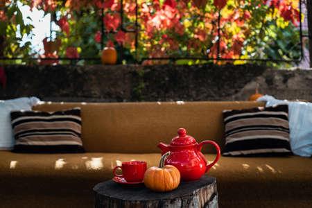 Tea set and a pumpkin outdoor in autumn 写真素材