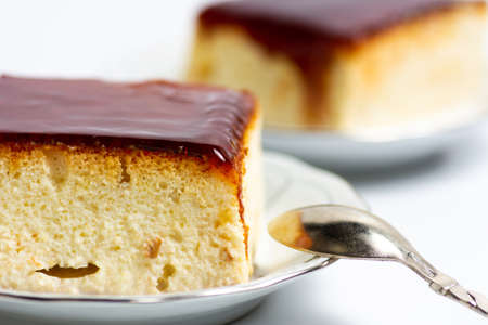Trilece sponge cake with milk and caramel topping