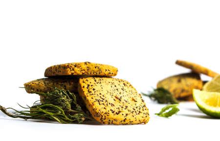 Integral cookies with marijuana and chia seeds on white