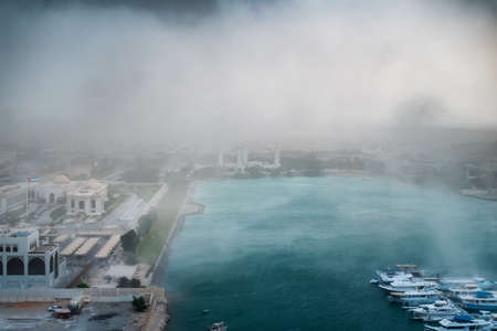 Sandstorm and extreme weather over Al Bateen Marina in Abu Dhabi the capital city of the UAE Stock fotó