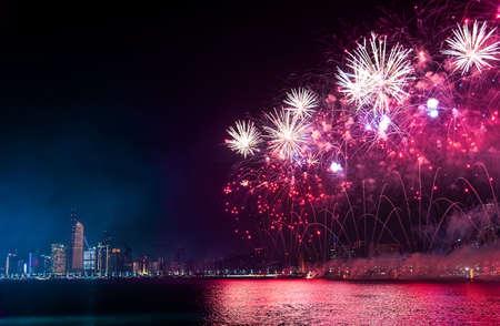 Fireworks over Abu Dhabi cityscape for the United Arab Emirates national day celebration Stock Photo