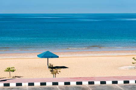Aerial view at Flamingo beach in Ras Al Khaimah emirate of United Arab Emirates