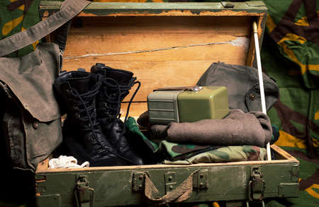 Vintage military equipment retro style boots bags and boxes