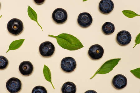 Blueberry fruit flat lay background top view