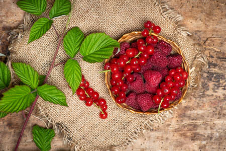 fresh raspberry and currant red berry fruits in a bowl top view Stok Fotoğraf