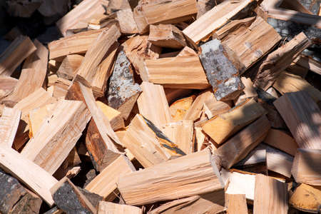Fresh chopped firewood for making heat in the winter
