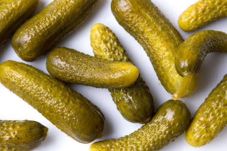 Bunch of pickled cucumbers on white background Stok Fotoğraf