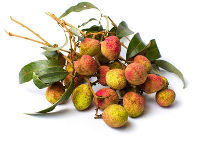 Lychee tropical fruit bouquet on white background