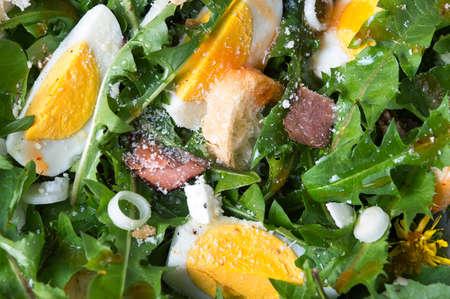 Dandelion leafs natural meal salad close up