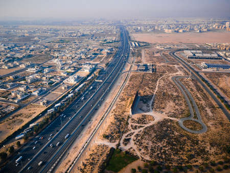 E311 Sheikh Mohammed bin Zayed Road in Dubai suburbs. Main highway in the UAE connecting multiple emirates with traffic load Stok Fotoğraf