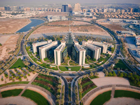 Dubai, United Arab Emirates - May 5, 2021: Dubai Silicon Oasis technology park, residential area and free zone in Dubai emirate suburbs at United Arab Emirates aerial view Editöryel