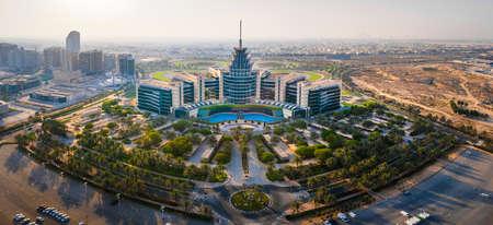 Dubai, United Arab Emirates - May 5, 2021: Panoramic view of Dubai Silicon Oasis technology park, residential area and free zone in Dubai emirate suburbs at United Arab Emirates aerial view