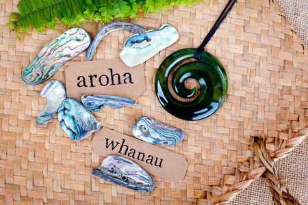 NZ - Kiwi - Maori theme - backgrounds and objects - maori words for love and respect (aroha) and family (whanau) Stok Fotoğraf
