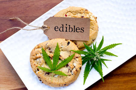 Marijuana - Cannabis - Medicinal Edibles - Cookies with tag, leaf and bud